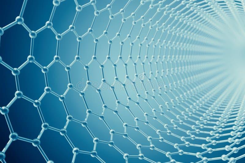 Rendu du plan rapproché géométrique hexagonal de forme de nanotechnologie abstraite de tube, structure moléculaire de graphene de illustration stock