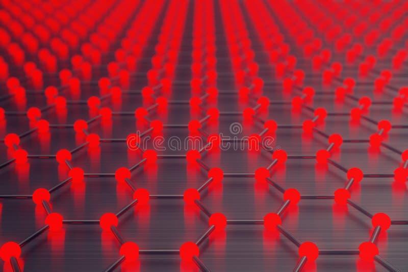 Rendu du plan rapproché géométrique hexagonal de forme de nanotechnologie abstraite rouge, structure atomique de graphene de conc illustration libre de droits