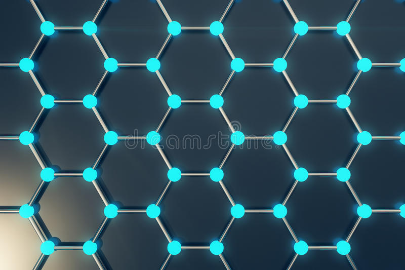 Rendu du plan rapproché géométrique hexagonal de forme de nanotechnologie abstraite, structure atomique de graphene de concept, m illustration de vecteur