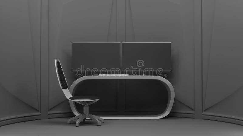 Rendu du poste de travail 3d d'ordinateur illustration libre de droits