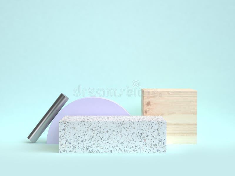 Rendu en bois de la forme 3d de texture de marbre de cube en scène bleue illustration de vecteur
