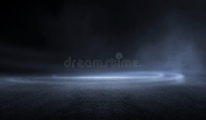 Rendu en 3D abstrait nuit sombre créatif flou extérieur asphalte arrière-plan illustration stock