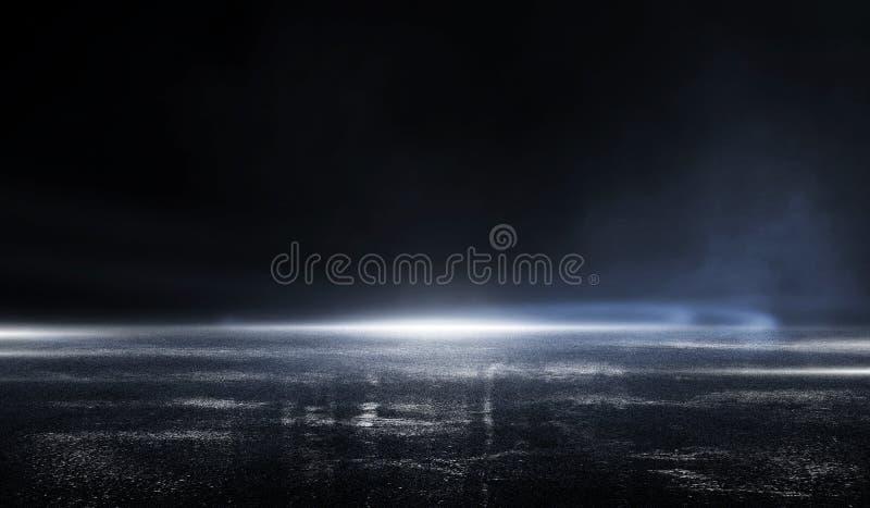 rendu en 3D scène vide sombre, lumière néon bleu, asphalte humide, fumée, vue nocturne, rayons illustration libre de droits