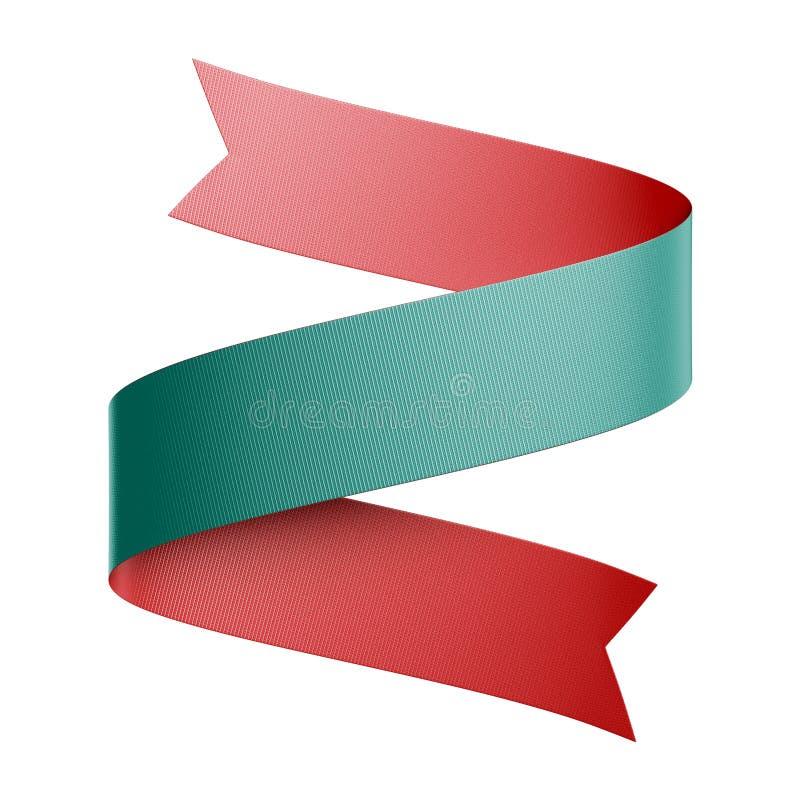 Rendu en 3d d'un ruban vert rouge recto verso isolé sur fond blanc, élément de conception, image clipart festive illustration de vecteur