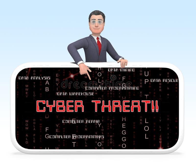 Rendu en ligne de la protection 3d de renseignement sur la menace de Cyber illustration de vecteur