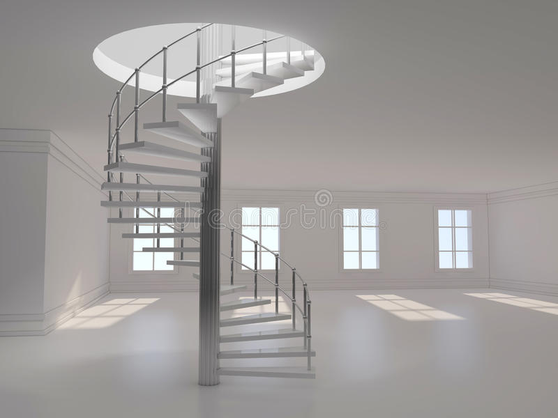 Rendu en spirale de l'escalier 3D images stock