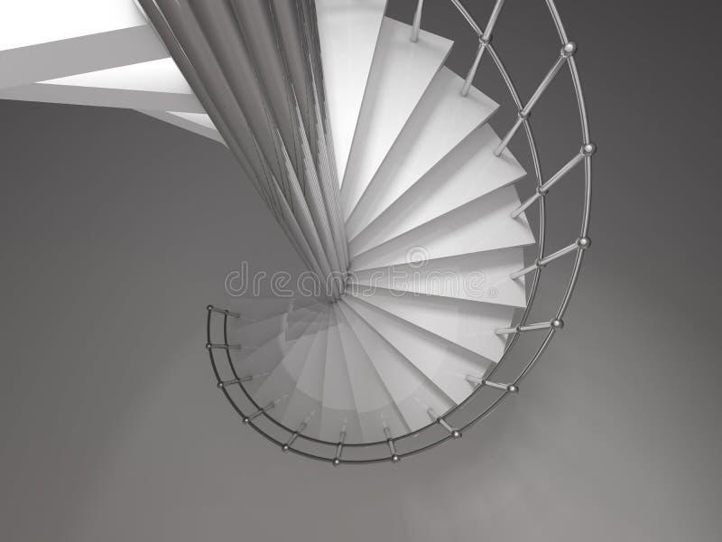 Rendu en spirale de l'escalier 3D illustration libre de droits