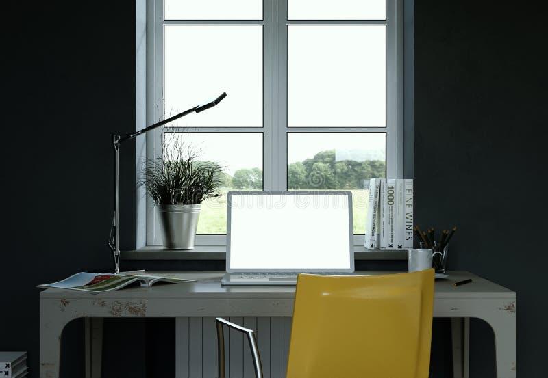 Rendu foncé de la conception intérieure 3d de siège social de mur de vintage illustration libre de droits