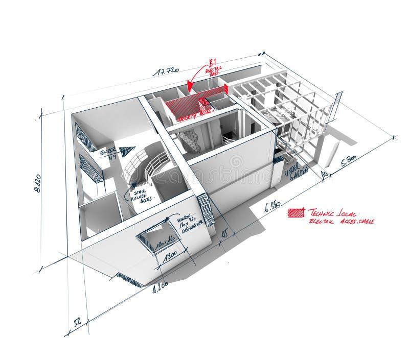 Rendu griffonné d'architecture de maison illustration de vecteur