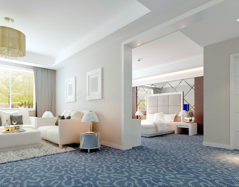 rendu intérieur de luxe de suite d'hôtel 3D illustration stock