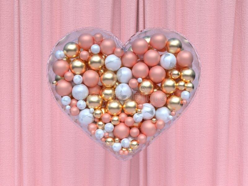 Rendu métallique rose blanc de la boule 3d d'or de forme de coeur illustration stock