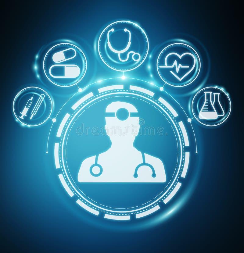 Rendu moderne de l'interface 3D de soins de santé illustration de vecteur