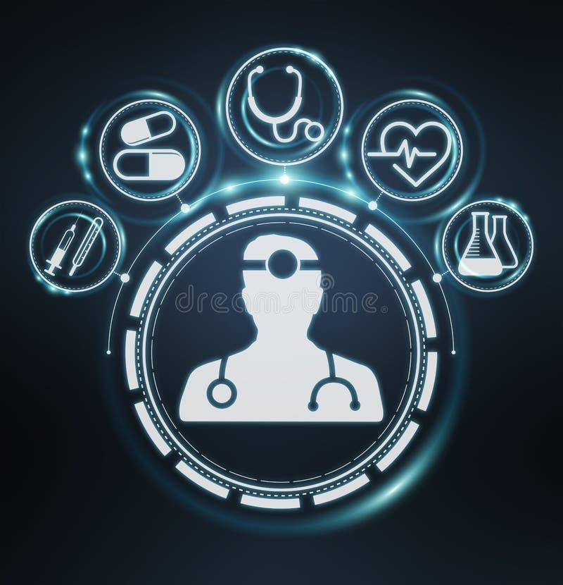 Rendu moderne de l'interface 3D de soins de santé illustration libre de droits