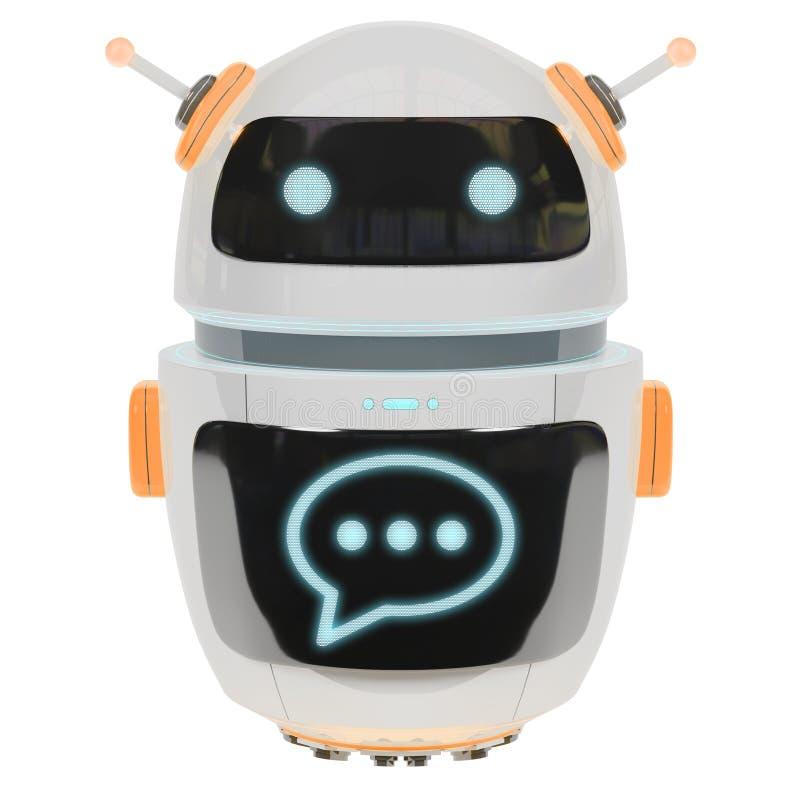 Rendu numérique futuriste du chatbot 3D illustration de vecteur