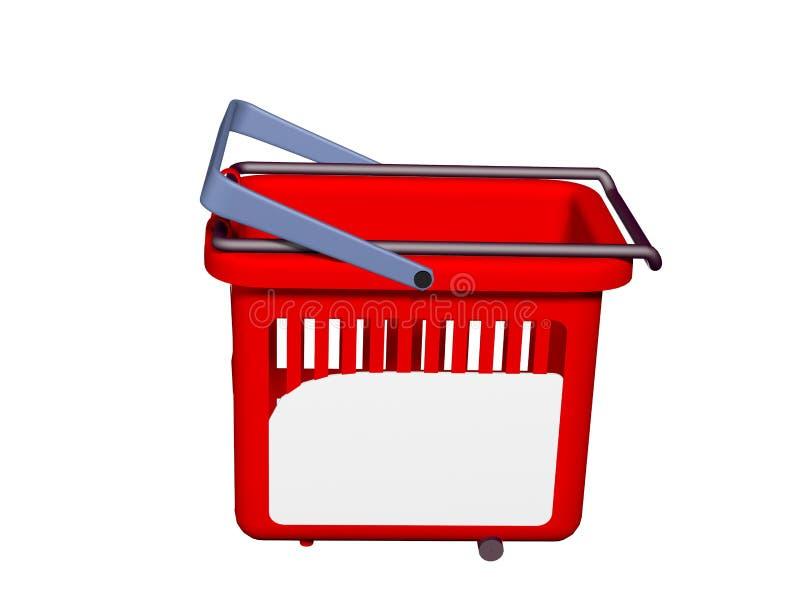 Rendu rouge 3 du panier à provisions 3D illustration de vecteur