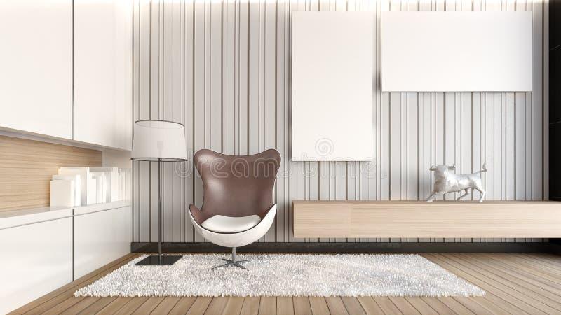 Rendu salon/3D blanc photos libres de droits