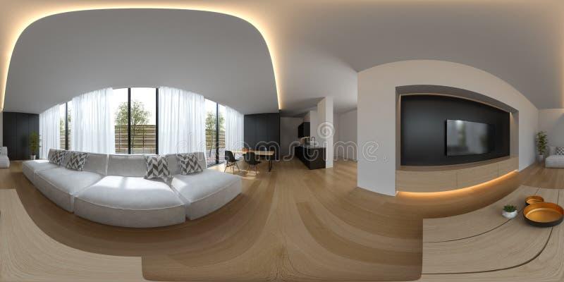 Rendu scandinave de la conception intérieure 3D de style 360 de projection sphérique de panorama illustration libre de droits