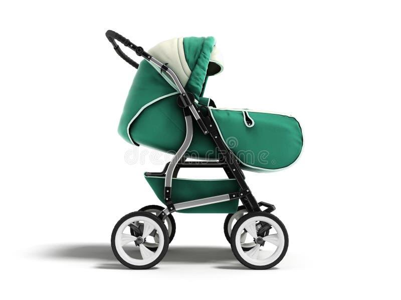 Rendu vert-foncé moderne de l'avant 3d de vert d'hiver d'automne de ressort de poussette de bébé sur le fond blanc avec l'ombre illustration libre de droits