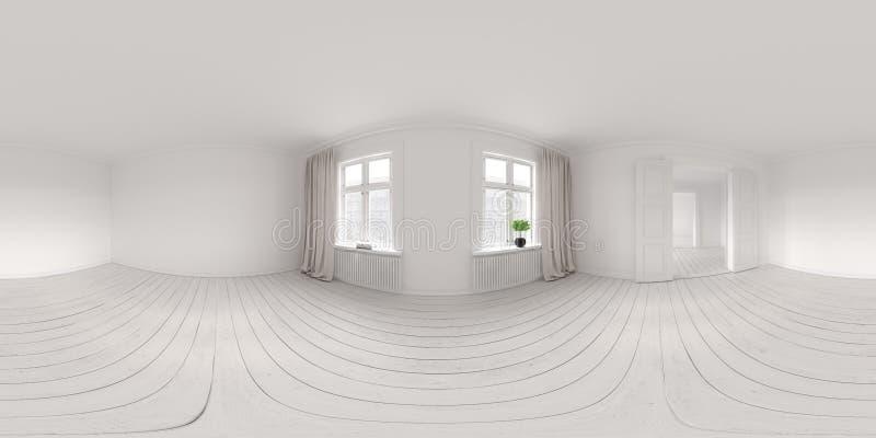 Rendu vide intérieur de salle 3D 360 de projection sphérique de panorama photo libre de droits
