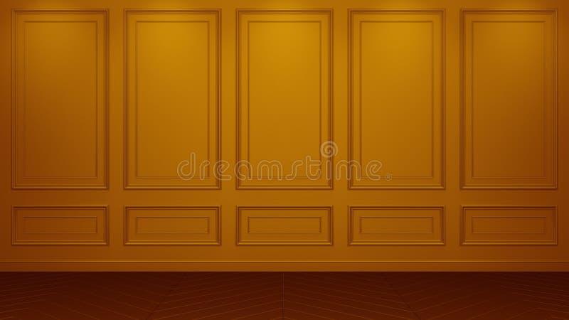 Rendu vivant intérieur orange classique de la maquette 3D de studio Pièce vide pour votre montage Copyspace illustration libre de droits