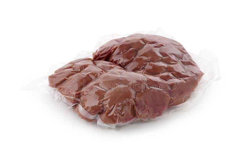 Rene della carne di maiale nel vuoto che ingrassa fondo bianco immagine stock