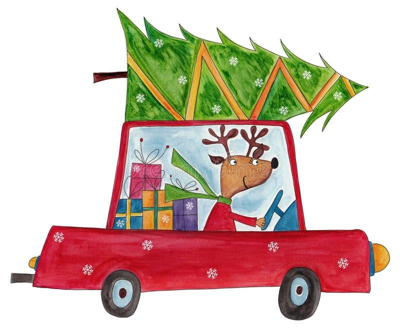 Renen som levererar julträdet stock illustrationer