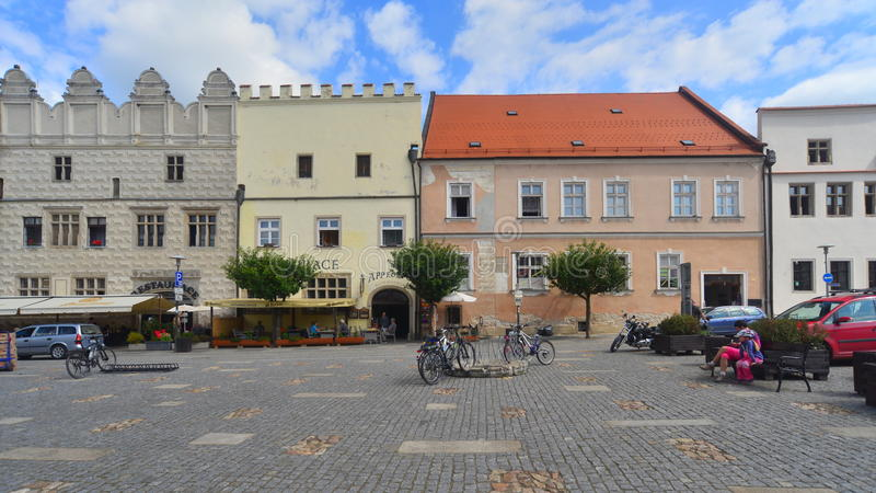 Renesansowe fasady domy w Slavonice, republika czech fotografia stock