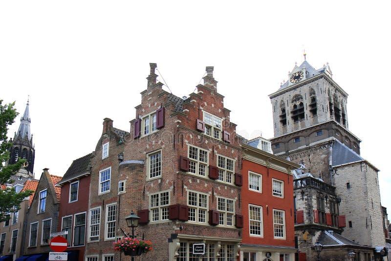 Renesansowi szczyty w historycznym Delft, Holandia zdjęcia royalty free