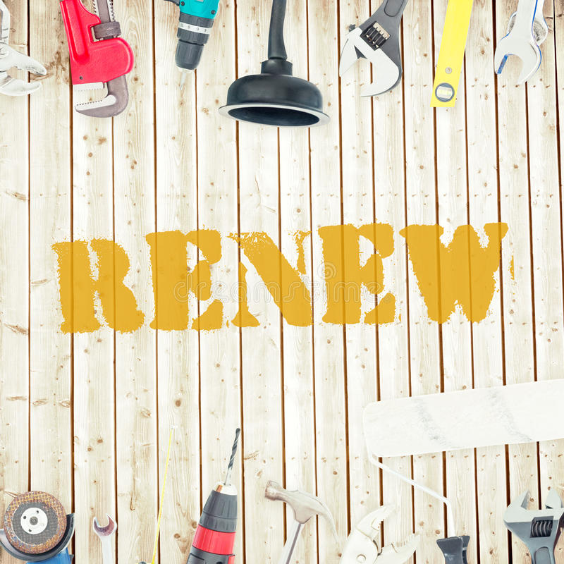 Renew against tools on wooden background royalty free illustration