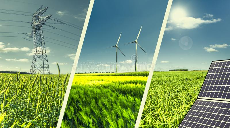 Renewable energies concept collage. With solar panel, wind mills and electrical energy infrastucture stock photos