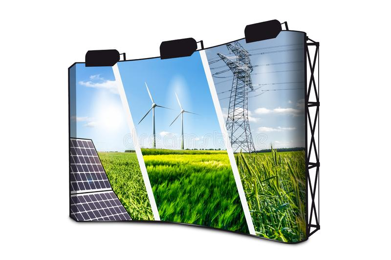 Renewable Energies Concept Collage With Solar Panel, Wind Mills And Electrical Energy Infrastucture On Banner Display With Lights royalty free stock photography