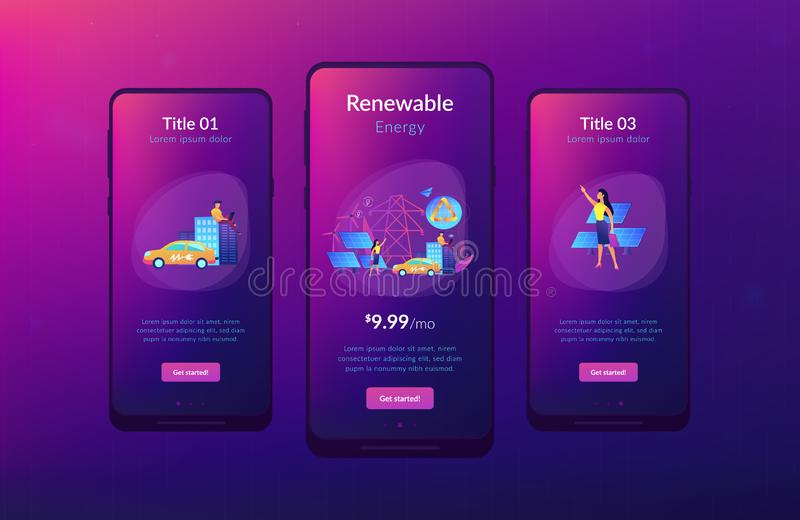 Renewable energy app interface template. Business people use clean renewable electric energy in the city. Renewable energy, renewable power resources, rural stock illustration