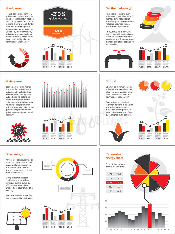 Renewable energy charts. Infographics with graphs and charts for renewable energy royalty free illustration