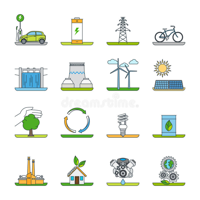 Renewable energy and green technology icons stock illustration