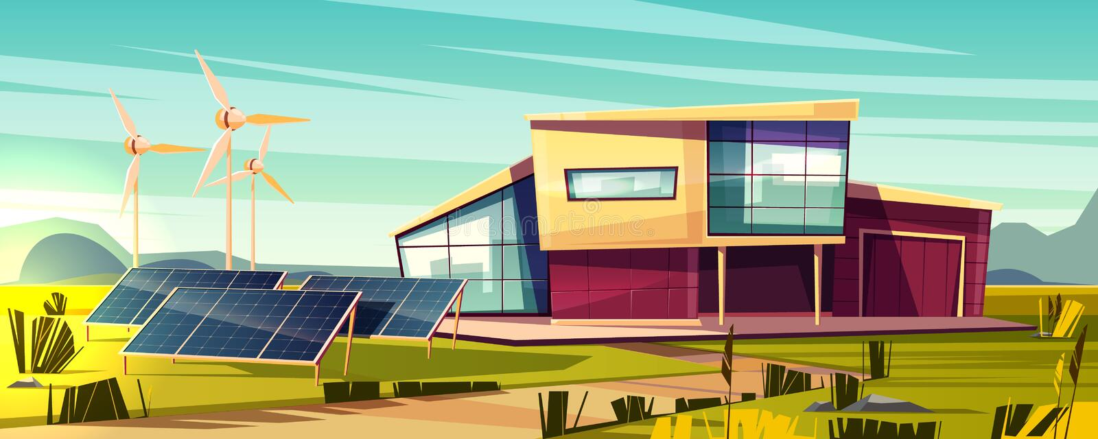 Renewable energy for house cartoon vector concept royalty free illustration