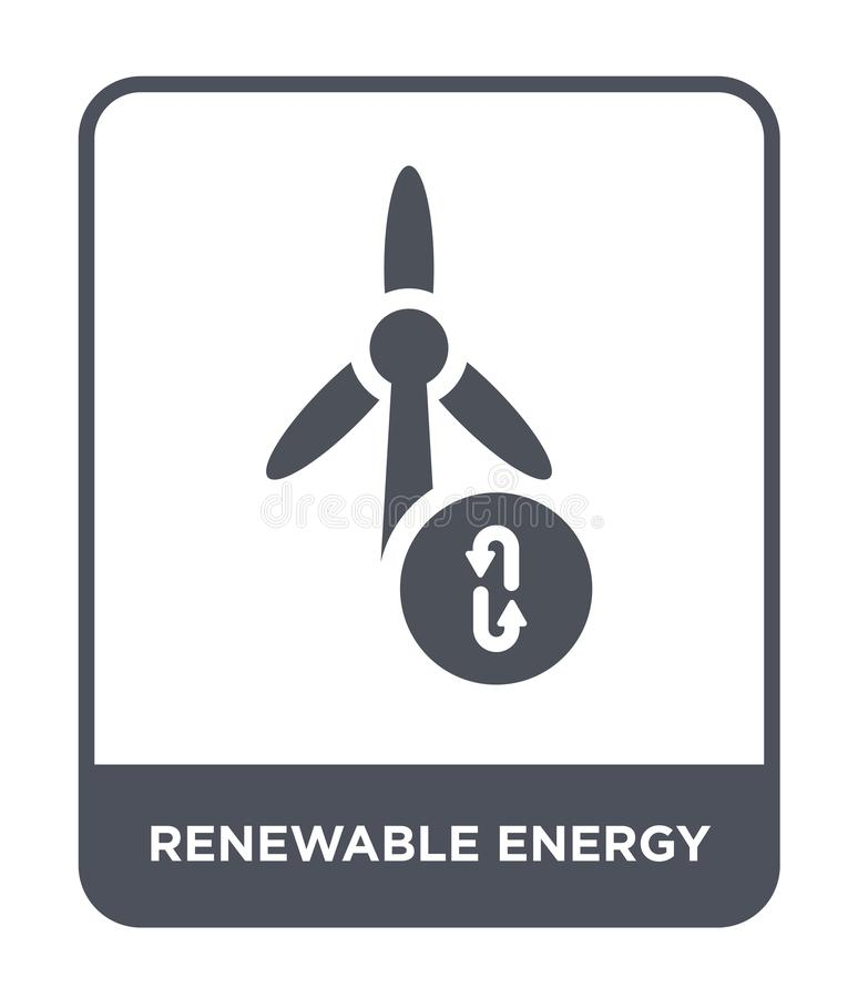 Renewable energy icon in trendy design style. renewable energy icon isolated on white background. renewable energy vector icon. Simple and modern flat symbol stock illustration