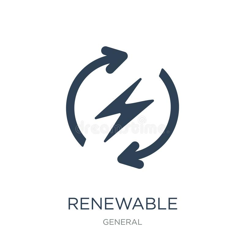 renewable energy label icon in trendy design style. renewable energy label icon isolated on white background. renewable energy stock illustration