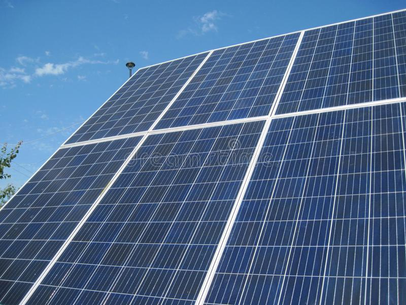 Renewable energy - photovoltaic cells - solar panels for domestic use. Renewable energy sources - solar batteries. photoelectric elements in household use. Solar royalty free stock photography