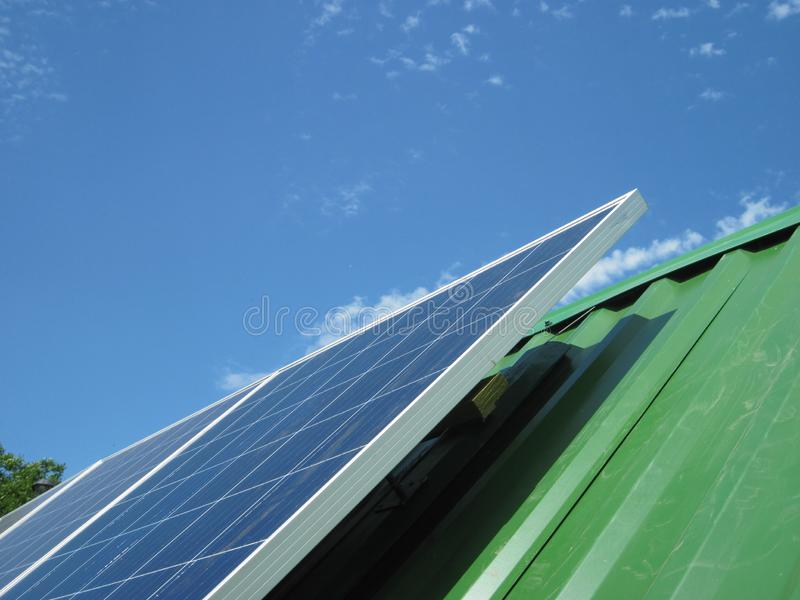 Renewable energy - photovoltaic cells - solar panels for domestic use. Renewable energy sources - solar batteries. photoelectric elements in household use. Solar stock images