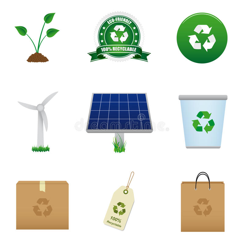 Renewable Energy And Recycle Icon Stock Photography