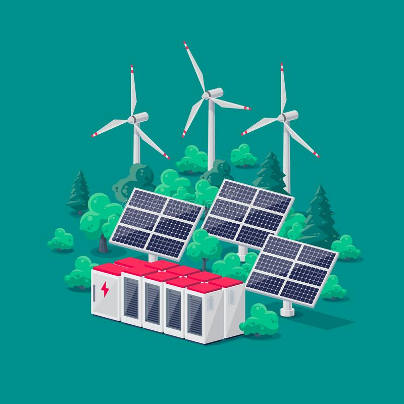 Free Renewable Energy Smart Grid Power Station With Solar Wind And Battery Storage Royalty Free Stock Image - 216132066