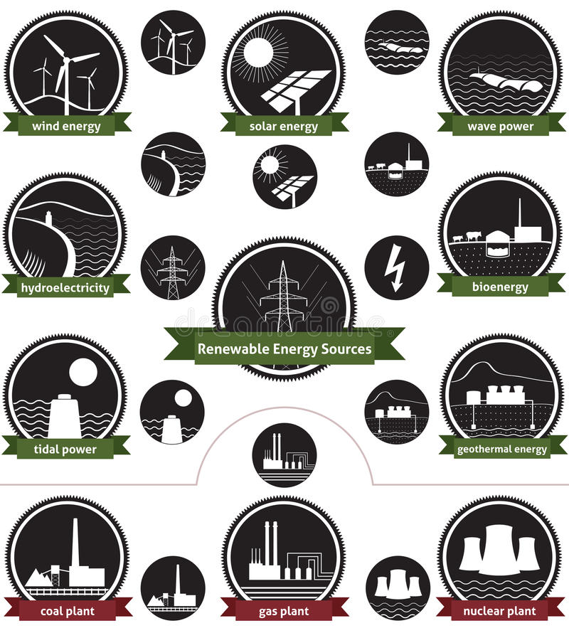 Renewable Energy Sources - Icon Pack. Vector icon set of sustainable energy generation and the three main non-renewable energy sources today vector illustration