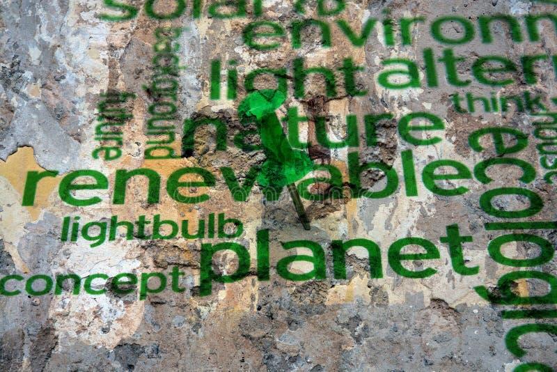 Renewable energy  text on wall.  stock photo