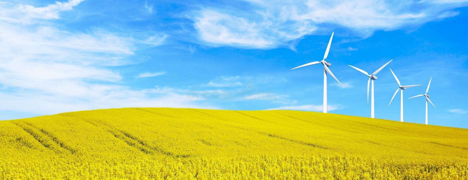 Renewable energy with wind turbines in yellow flowers hills. Ecology environmental background for presentations and websites. stock photography