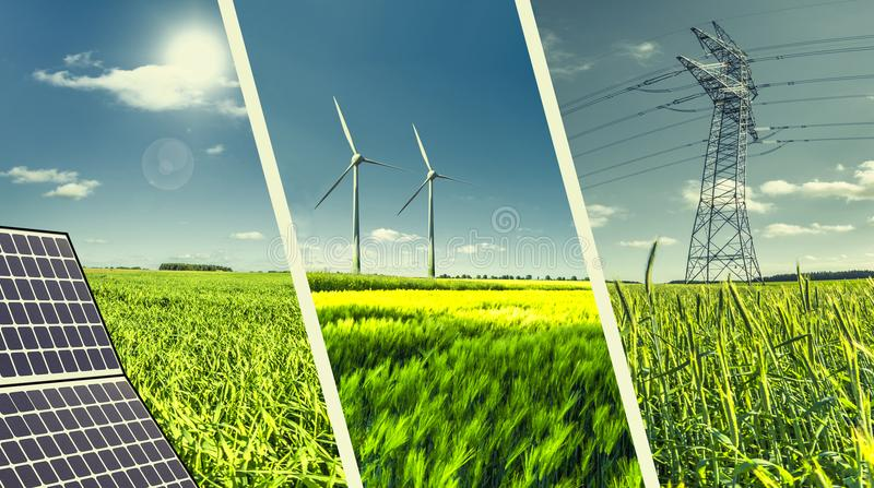 Renewable power energies concept collage. Renewable energies concept collage with solar panel, wind mills and electrical energy infrastucture royalty free stock images