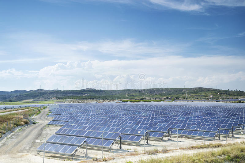 Renewable resorce: Solar - production of natural energy stock photography