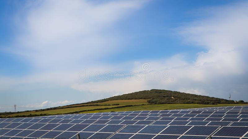 Solar panels generating renewable energy stock images