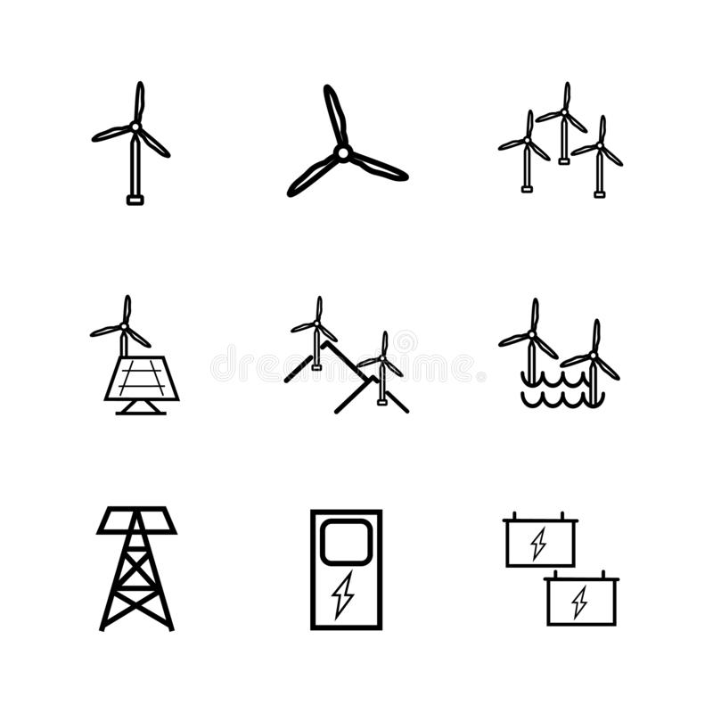 Renewable wind energy. Icon set and charger.Windmill black color royalty free stock photography