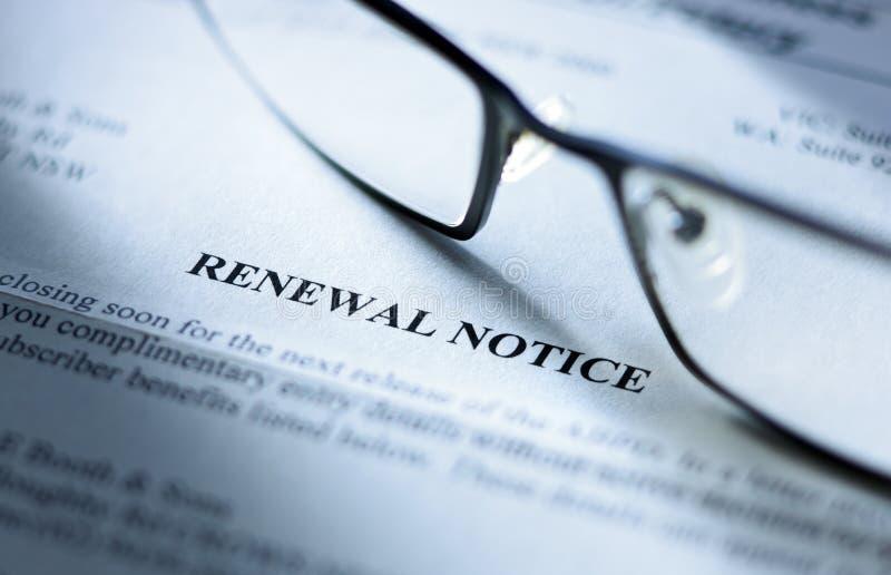 Renewal Notice royalty free stock photos