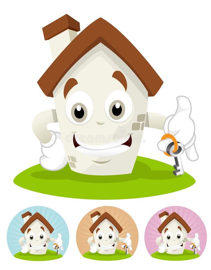 Renfermez la mascotte de dessin animé - retenir une clé de maison images stock